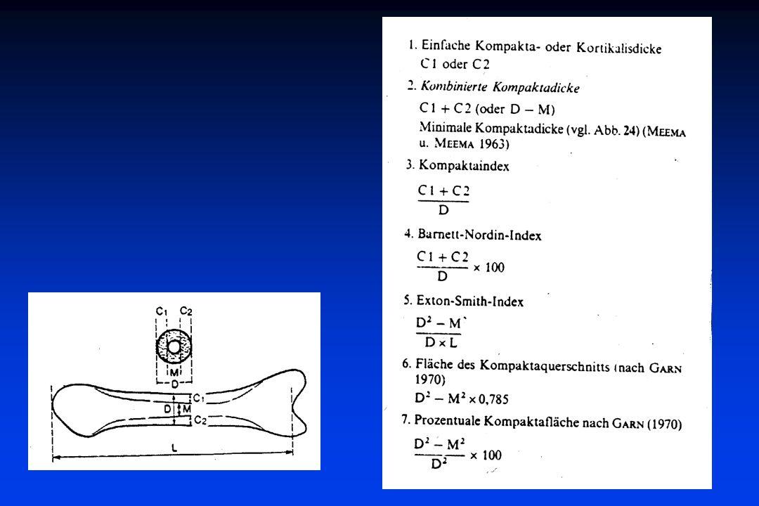 Osteodensotometrie Meßprinzip:Absorption von ionisierender Strahlung im Vergleich mit einem Meßphantom Ultraschallabsorption, Ausbreitungsgeschwindigkeit Grenzflächen (Suszeptibilitäts-) artefakte in der MRT