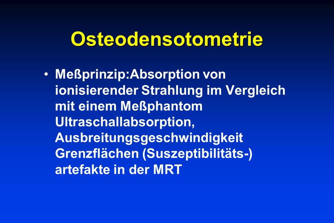Osteodensotometrie Meßprinzip:Absorption von ionisierender Strahlung im Vergleich mit einem Meßphantom Ultraschallabsorption, Ausbreitungsgeschwindigk
