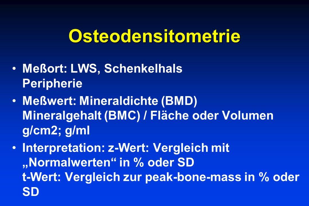 Osteodensitometrie Meßort: LWS, Schenkelhals Peripherie Meßwert: Mineraldichte (BMD) Mineralgehalt (BMC) / Fläche oder Volumen g/cm2; g/ml Interpretat