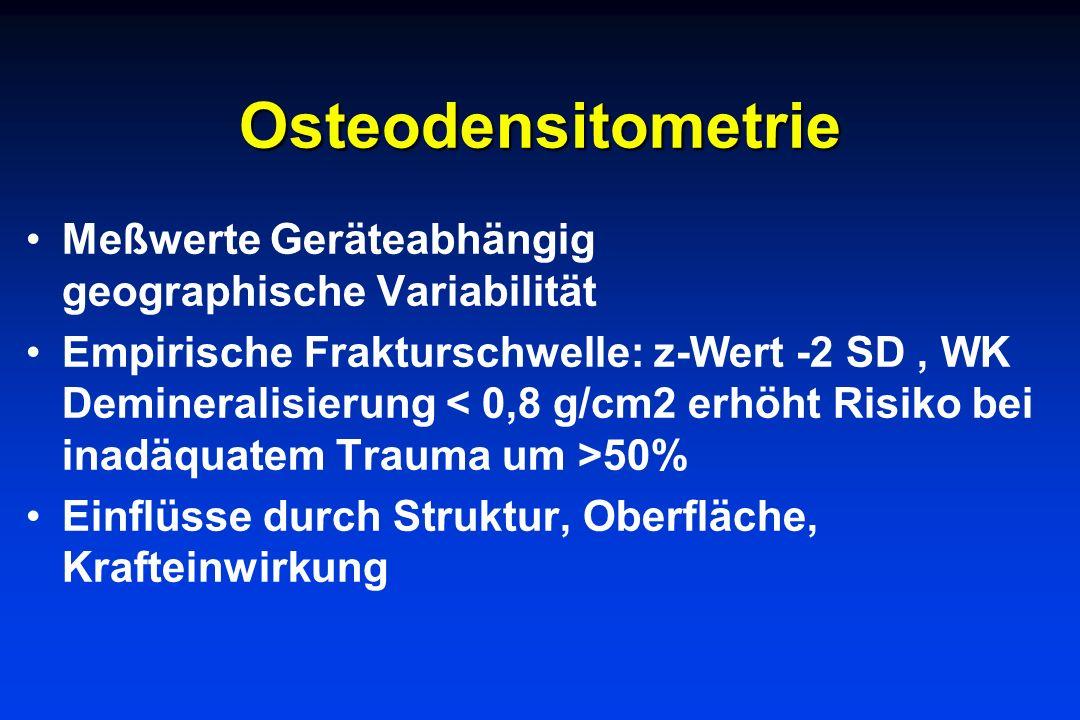 Osteodensitometrie Meßwerte Geräteabhängig geographische Variabilität Empirische Frakturschwelle: z-Wert -2 SD, WK Demineralisierung 50% Einflüsse dur