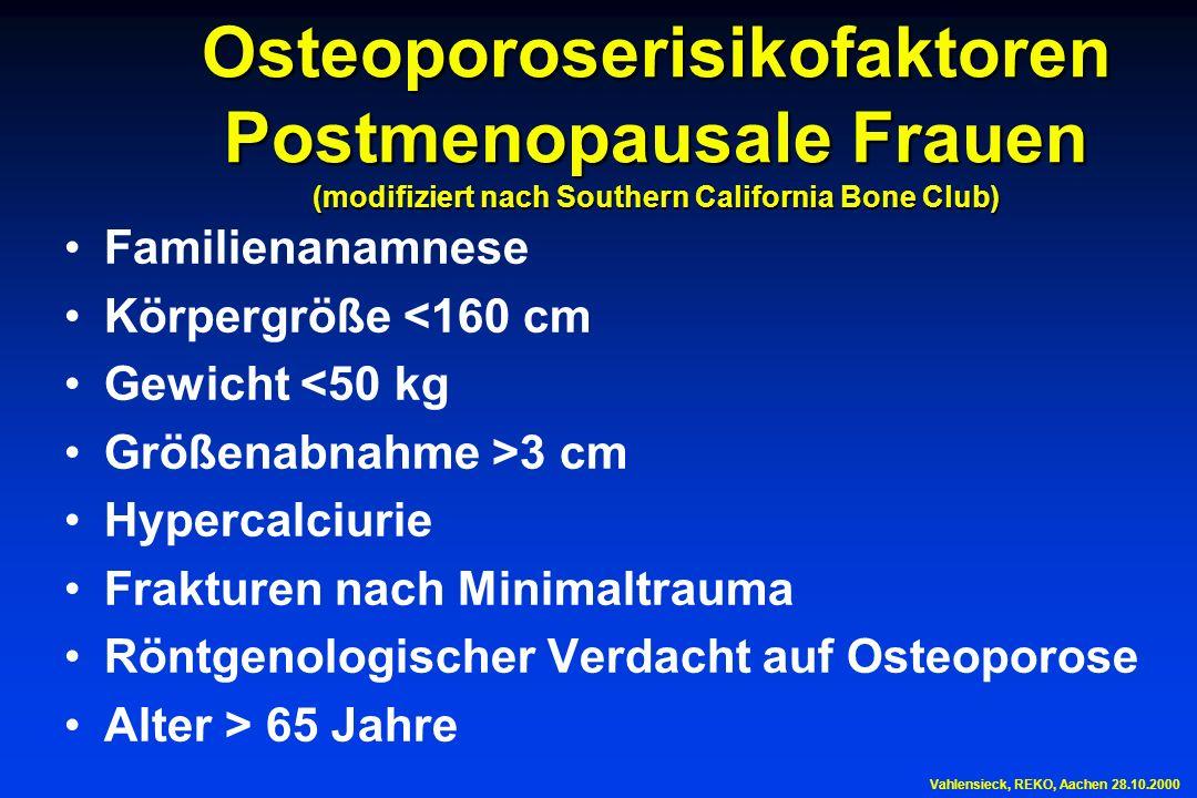Osteoporoserisikofaktoren Postmenopausale Frauen (modifiziert nach Southern California Bone Club) Familienanamnese Körpergröße <160 cm Gewicht <50 kg