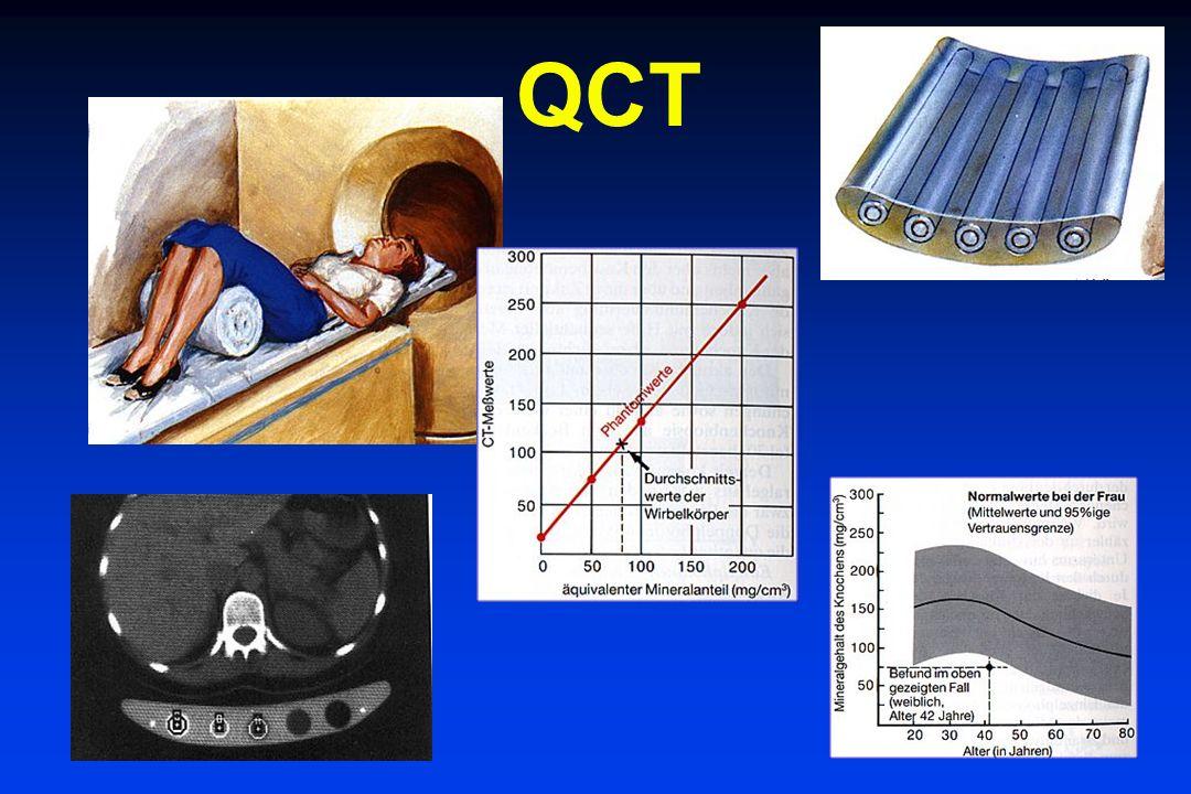 Osteodensitometrie Meßfrequenz Jährliche Abbaurate 0,5 - 1,5 % Schwankungen bis 3 % daher: Meßintervall 2 Jahre Bei sekundären Osteoporosen evtl.