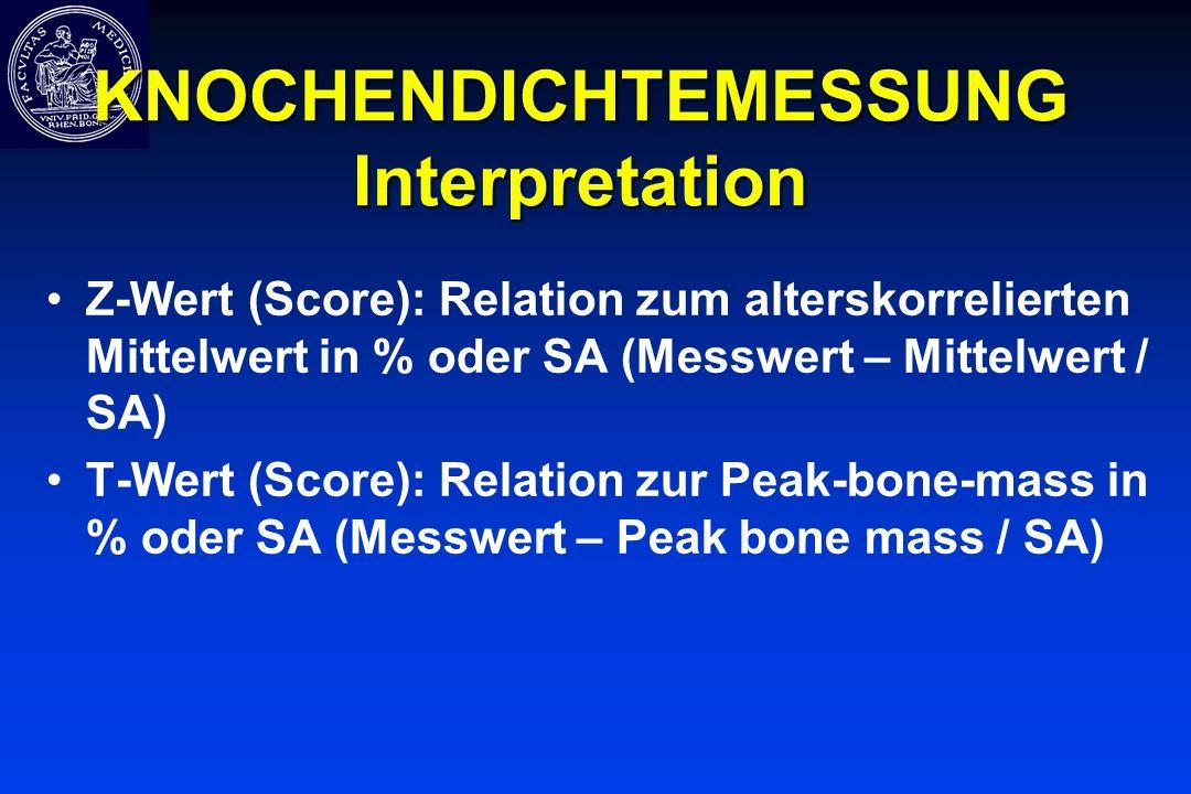 KNOCHENDICHTEMESSUNG Interpretation Z-Wert (Score): Relation zum alterskorrelierten Mittelwert in % oder SA (Messwert – Mittelwert / SA) T-Wert (Score