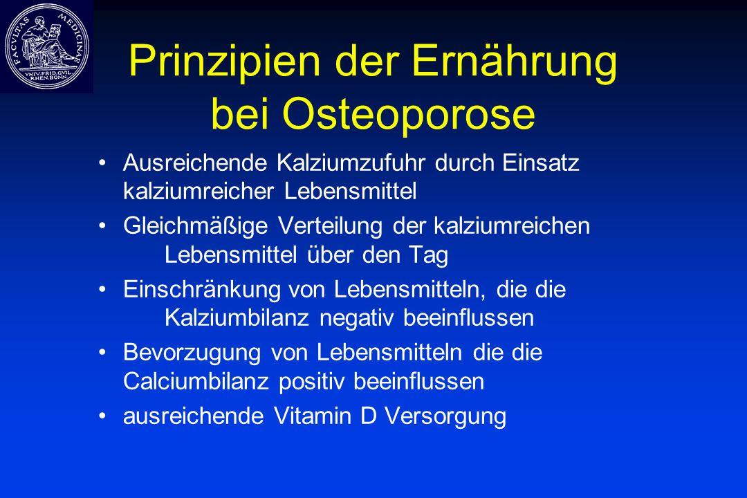 Prinzipien der Ernährung bei Osteoporose Ausreichende Kalziumzufuhr durch Einsatz kalziumreicher Lebensmittel Gleichmäßige Verteilung der kalziumreich