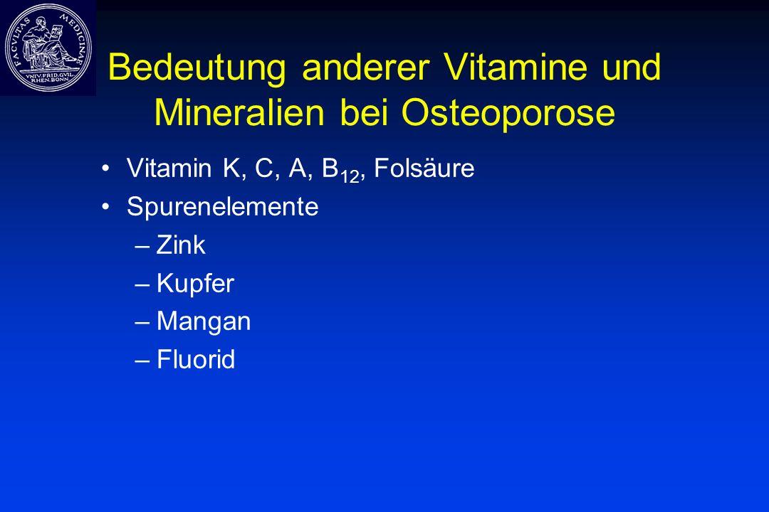 Bedeutung anderer Vitamine und Mineralien bei Osteoporose Vitamin K, C, A, B 12, Folsäure Spurenelemente –Zink –Kupfer –Mangan –Fluorid