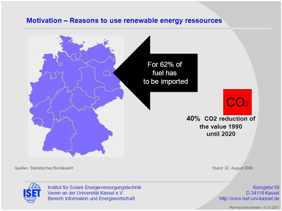Institut für Solare EnergieversorgungstechnikKönigstor 59 Verein an der Universität Kassel e.V.D-34119 Kassel Bereich Information und Energiewirtschaft http://www.iset.uni-kassel.de First results – Simulation 2006 Reinhard Mackensen – 10.10.2007 LoadWindPVGasHydroImportExport Wasted wind 200641.12422.2776.15311.3163231.056-3.5207.586 January3.7791.9052081.603594-4560 February3.4301.7212541.2729192-182333 March3.7162.07146482164297-422556 April3.2471.77159088150-213448 May3.3521.76777280840-305812 June3.1361.0319021.1602419-125196 July3.27094299893237361-429461 August3.2441.60863487711115-322529 September3.2461.6466029601820-251547 October3.5402.1893868107149-424867 November3.5832.78319360610-4041.469 December3.5812.84414958530-4001.316