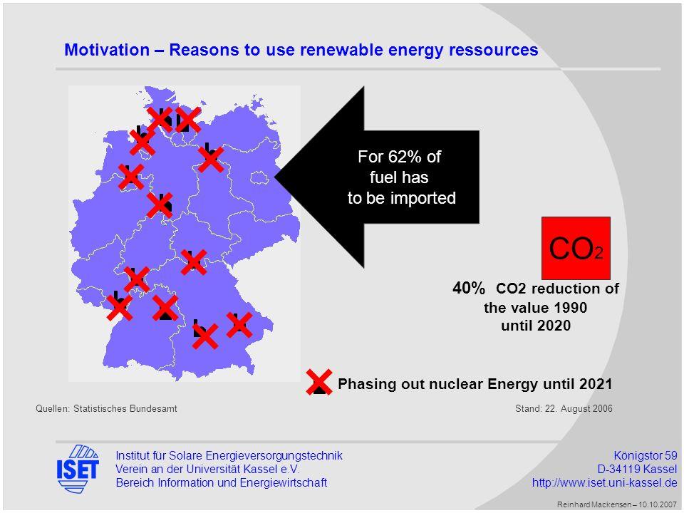 Institut für Solare EnergieversorgungstechnikKönigstor 59 Verein an der Universität Kassel e.V.D-34119 Kassel Bereich Information und Energiewirtschaft http://www.iset.uni-kassel.de Motivation – The invention of the project virtual power plant with 100% reneable energy sources The two main questions are: 1.