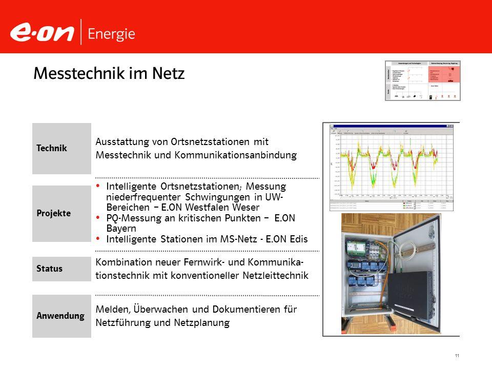 11 Kombination neuer Fernwirk- und Kommunika- tionstechnik mit konventioneller Netzleittechnik Intelligente Ortsnetzstationen; Messung niederfrequente