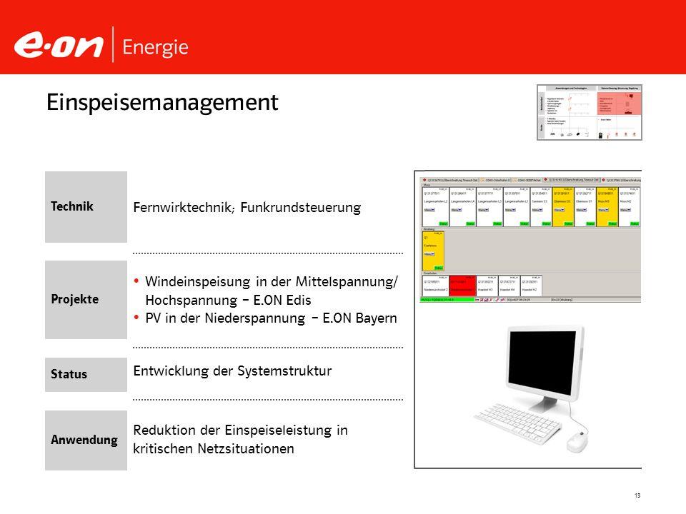 13 Entwicklung der Systemstruktur Windeinspeisung in der Mittelspannung/ Hochspannung – E.ON Edis PV in der Niederspannung – E.ON Bayern Einspeisemana