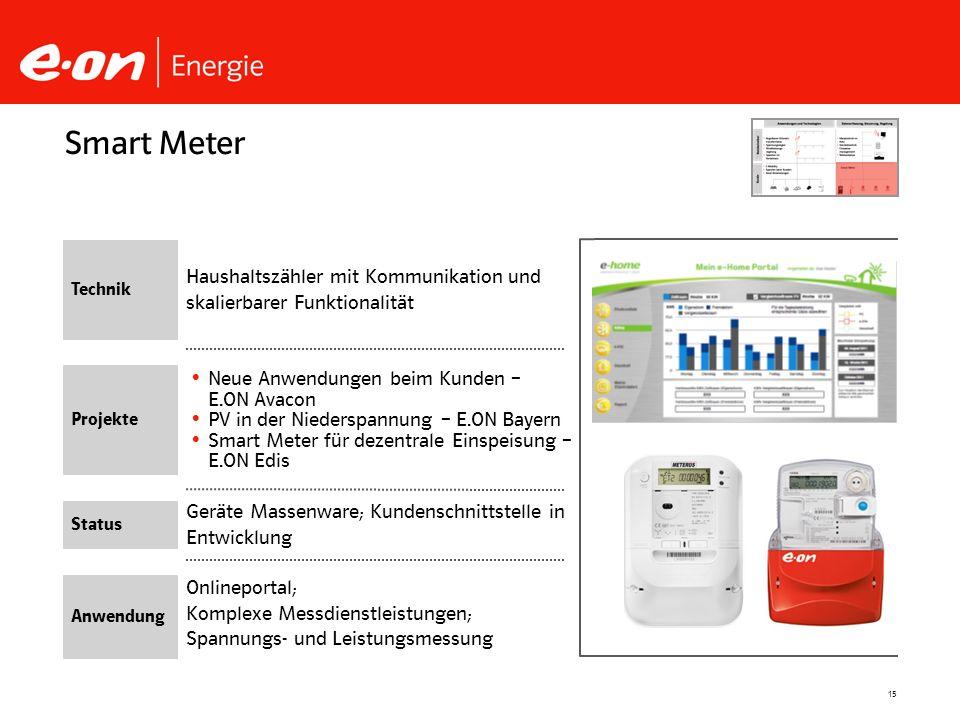 15 Geräte Massenware; Kundenschnittstelle in Entwicklung Neue Anwendungen beim Kunden – E.ON Avacon PV in der Niederspannung – E.ON Bayern Smart Meter