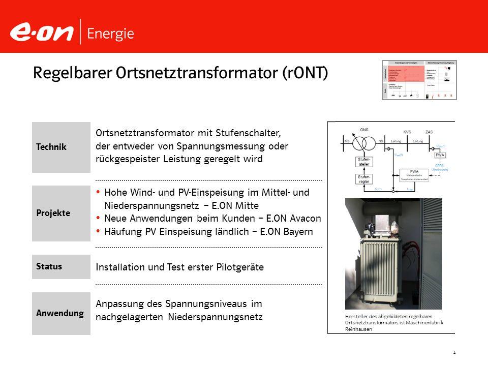 4 Installation und Test erster Pilotgeräte Hohe Wind- und PV-Einspeisung im Mittel- und Niederspannungsnetz – E.ON Mitte Neue Anwendungen beim Kunden