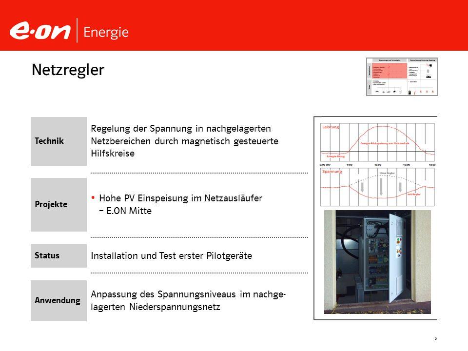 5 Installation und Test erster Pilotgeräte Hohe PV Einspeisung im Netzausläufer – E.ON Mitte Netzregler Technik Projekte Status Anwendung Regelung der