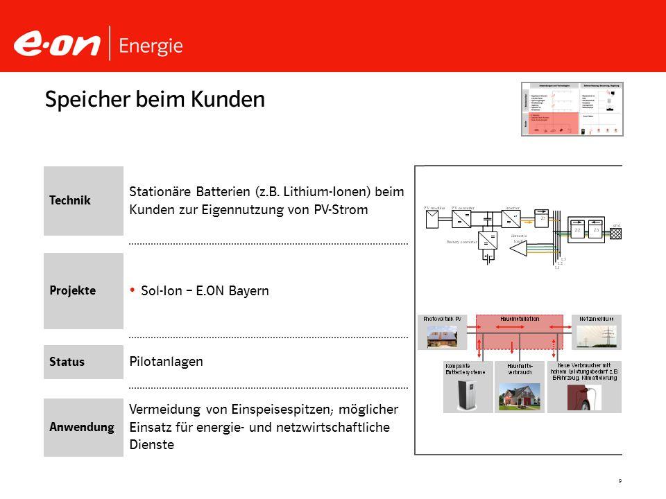 9 Pilotanlagen Sol-Ion – E.ON Bayern Speicher beim Kunden Technik Projekte Status Anwendung Stationäre Batterien (z.B. Lithium-Ionen) beim Kunden zur