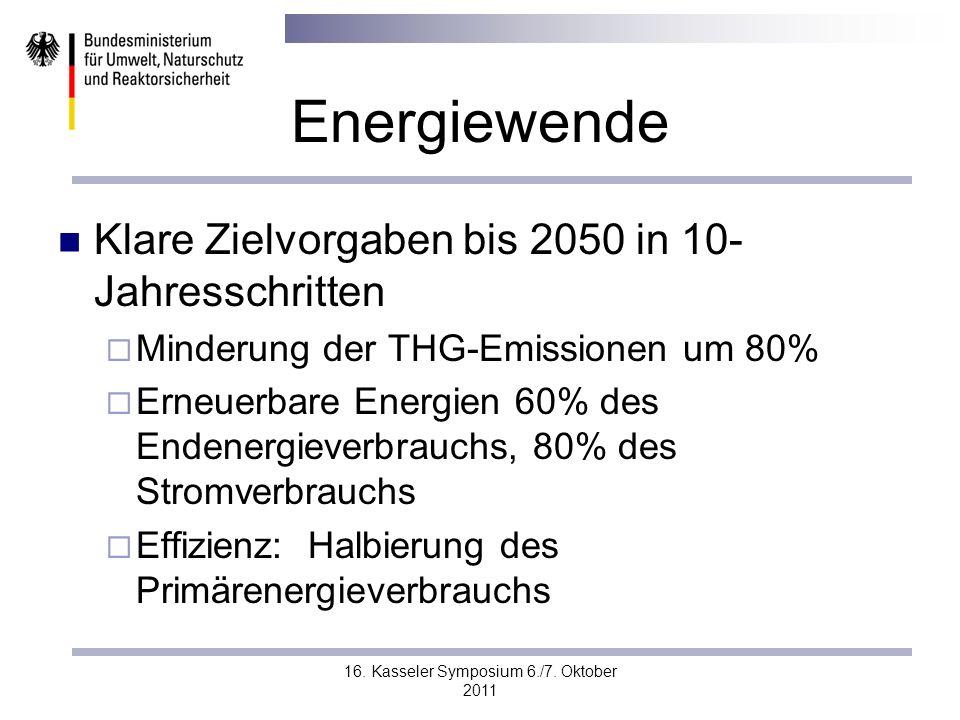 16. Kasseler Symposium 6./7. Oktober 2011 Energiewende Klare Zielvorgaben bis 2050 in 10- Jahresschritten Minderung der THG-Emissionen um 80% Erneuerb