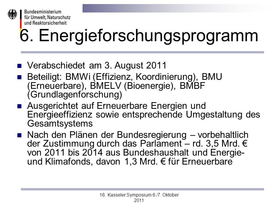16. Kasseler Symposium 6./7. Oktober 2011 6. Energieforschungsprogramm Verabschiedet am 3. August 2011 Beteiligt: BMWi (Effizienz, Koordinierung), BMU