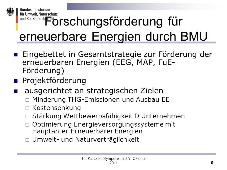 16. Kasseler Symposium 6./7. Oktober 2011 9 Forschungsförderung für erneuerbare Energien durch BMU Eingebettet in Gesamtstrategie zur Förderung der er