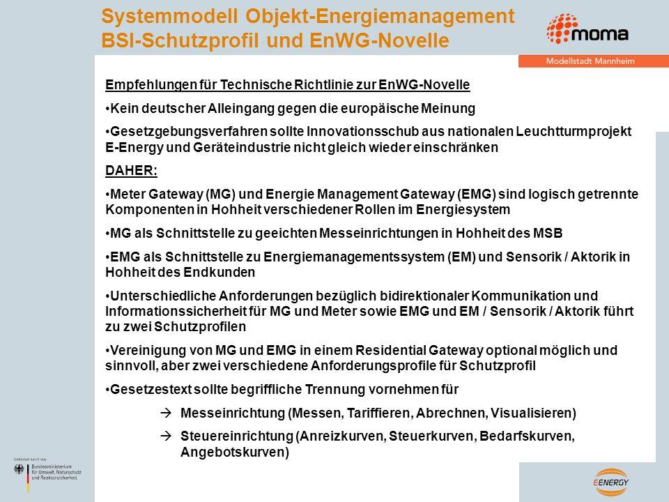 Empfehlungen für Technische Richtlinie zur EnWG-Novelle Kein deutscher Alleingang gegen die europäische Meinung Gesetzgebungsverfahren sollte Innovati