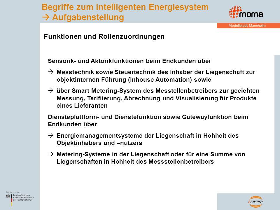 Empfehlungen für Technische Richtlinie zur EnWG-Novelle Kein deutscher Alleingang gegen die europäische Meinung Gesetzgebungsverfahren sollte Innovationsschub aus nationalen Leuchtturmprojekt E-Energy und Geräteindustrie nicht gleich wieder einschränken DAHER: Meter Gateway (MG) und Energie Management Gateway (EMG) sind logisch getrennte Komponenten in Hohheit verschiedener Rollen im Energiesystem MG als Schnittstelle zu geeichten Messeinrichtungen in Hohheit des MSB EMG als Schnittstelle zu Energiemanagementssystem (EM) und Sensorik / Aktorik in Hohheit des Endkunden Unterschiedliche Anforderungen bezüglich bidirektionaler Kommunikation und Informationssicherheit für MG und Meter sowie EMG und EM / Sensorik / Aktorik führt zu zwei Schutzprofilen Vereinigung von MG und EMG in einem Residential Gateway optional möglich und sinnvoll, aber zwei verschiedene Anforderungsprofile für Schutzprofil Gesetzestext sollte begriffliche Trennung vornehmen für Messeinrichtung (Messen, Tariffieren, Abrechnen, Visualisieren) Steuereinrichtung (Anreizkurven, Steuerkurven, Bedarfskurven, Angebotskurven) Systemmodell Objekt-Energiemanagement BSI-Schutzprofil und EnWG-Novelle