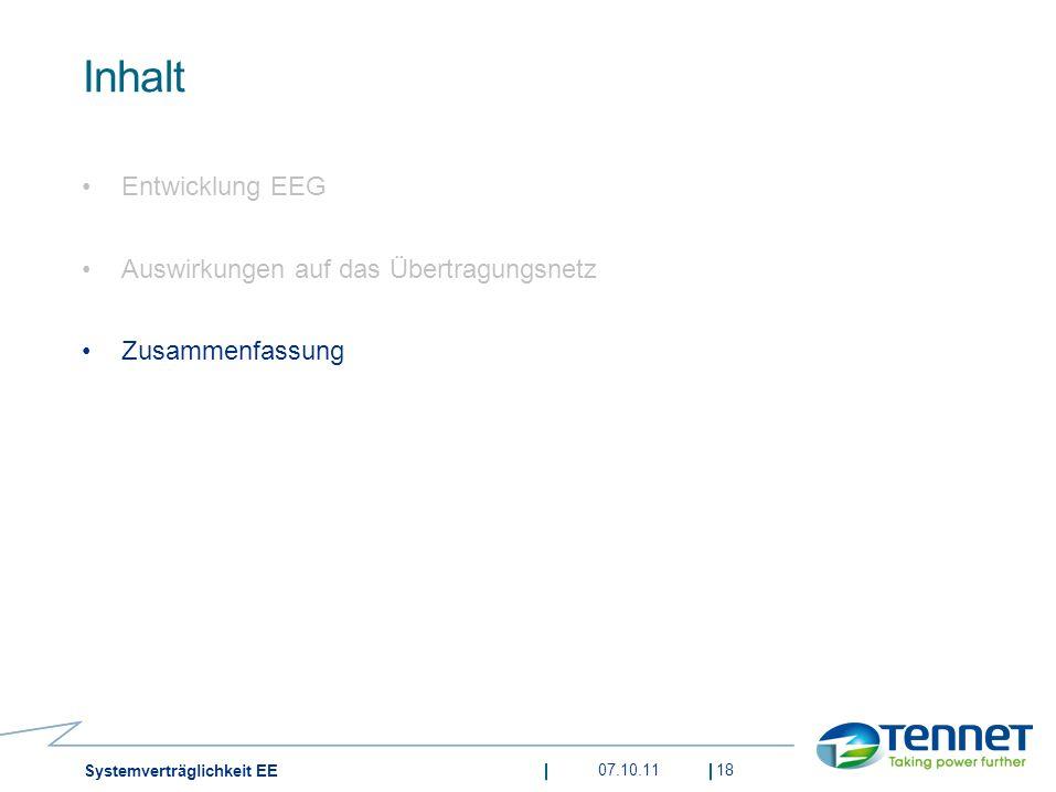 Inhalt Entwicklung EEG Auswirkungen auf das Übertragungsnetz Zusammenfassung 07.10.1118 Systemverträglichkeit EE