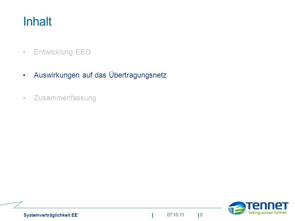 Inhalt Entwicklung EEG Auswirkungen auf das Übertragungsnetz Zusammenfassung 07.10.115 Systemverträglichkeit EE