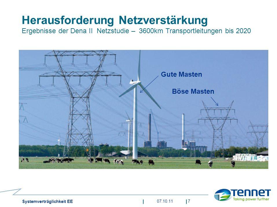 Herausforderung Netzverstärkung Ergebnisse der Dena II Netzstudie – 3600km Transportleitungen bis 2020 7 Gute Masten Böse Masten 07.10.11 Systemverträ