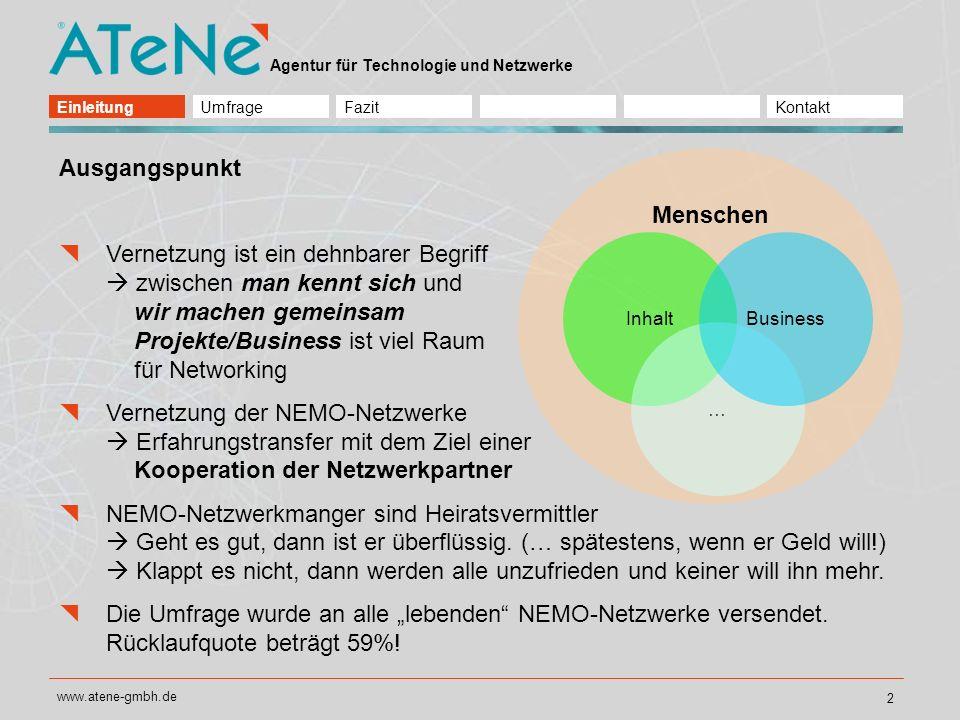Agentur für Technologie und Netzwerke www.atene-gmbh.de 3 Bedeutung von Kooperationen untereinander für die NEMO-Netzwerke In unserem Netzwerk werden Kooperationsmöglichkeiten besprochen.
