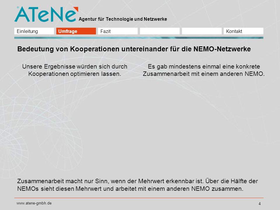 Agentur für Technologie und Netzwerke www.atene-gmbh.de 5 Interesse an anderen NEMO-Netzwerken Wir interessieren uns für die Ergebnisse anderer NEMO-Netzwerke.