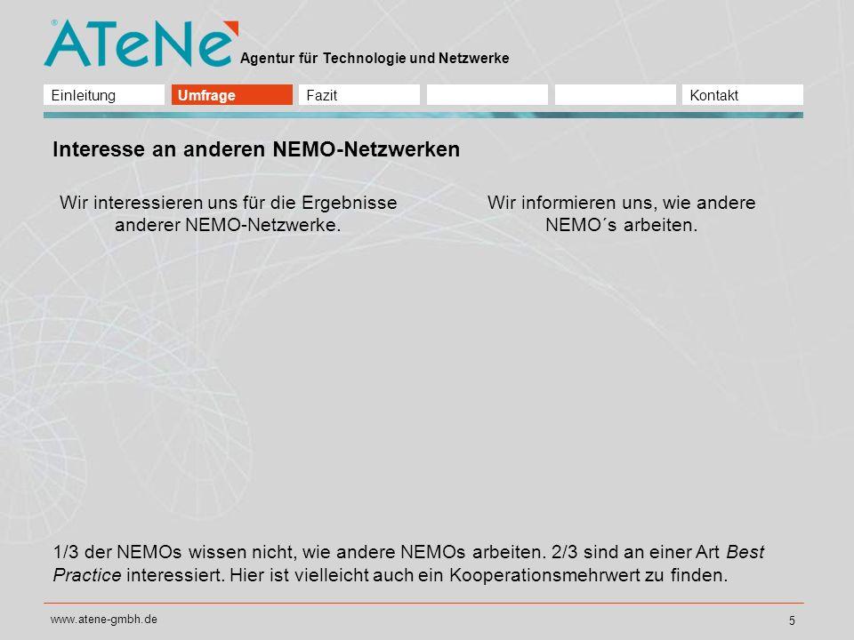 Agentur für Technologie und Netzwerke www.atene-gmbh.de 6 Welche Kontakte führen zu Kooperationen.