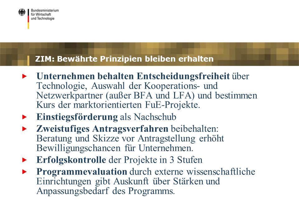 ZIM: Bewährte Prinzipien bleiben erhalten Unternehmen behalten Entscheidungsfreiheit über Technologie, Auswahl der Kooperations- und Netzwerkpartner (