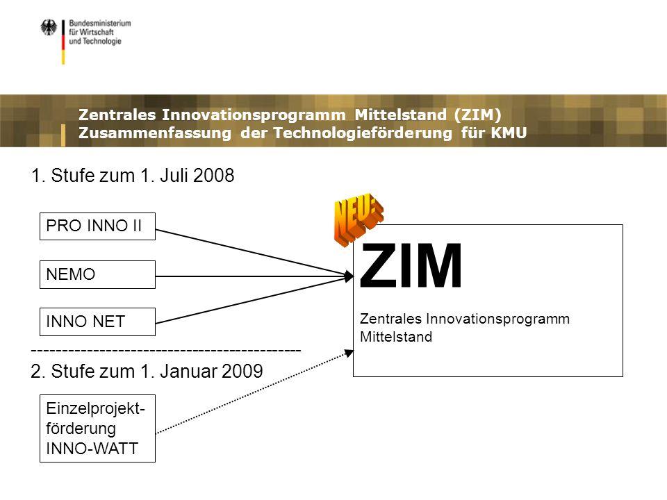 Zentrales Innovationsprogramm Mittelstand (ZIM) Zusammenfassung der Technologieförderung für KMU ZIM Zentrales Innovationsprogramm Mittelstand 1. Stuf