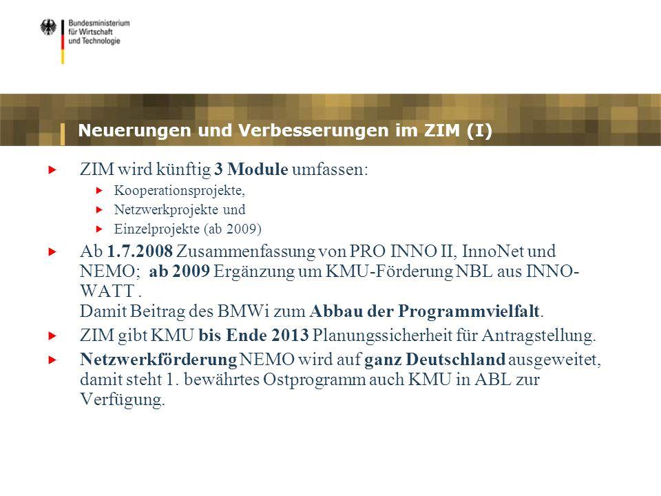 Neuerungen und Verbesserungen im ZIM (I) ZIM wird künftig 3 Module umfassen: Kooperationsprojekte, Netzwerkprojekte und Einzelprojekte (ab 2009) Ab 1.