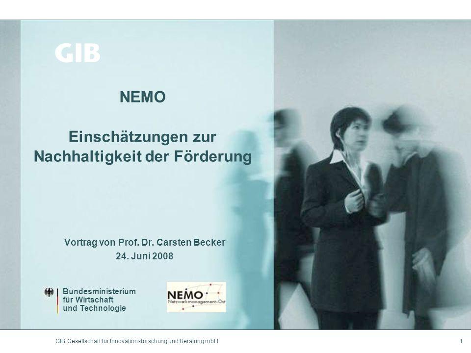 GIB Gesellschaft für Innovationsforschung und Beratung mbH1 NEMO Einschätzungen zur Nachhaltigkeit der Förderung Vortrag von Prof. Dr. Carsten Becker