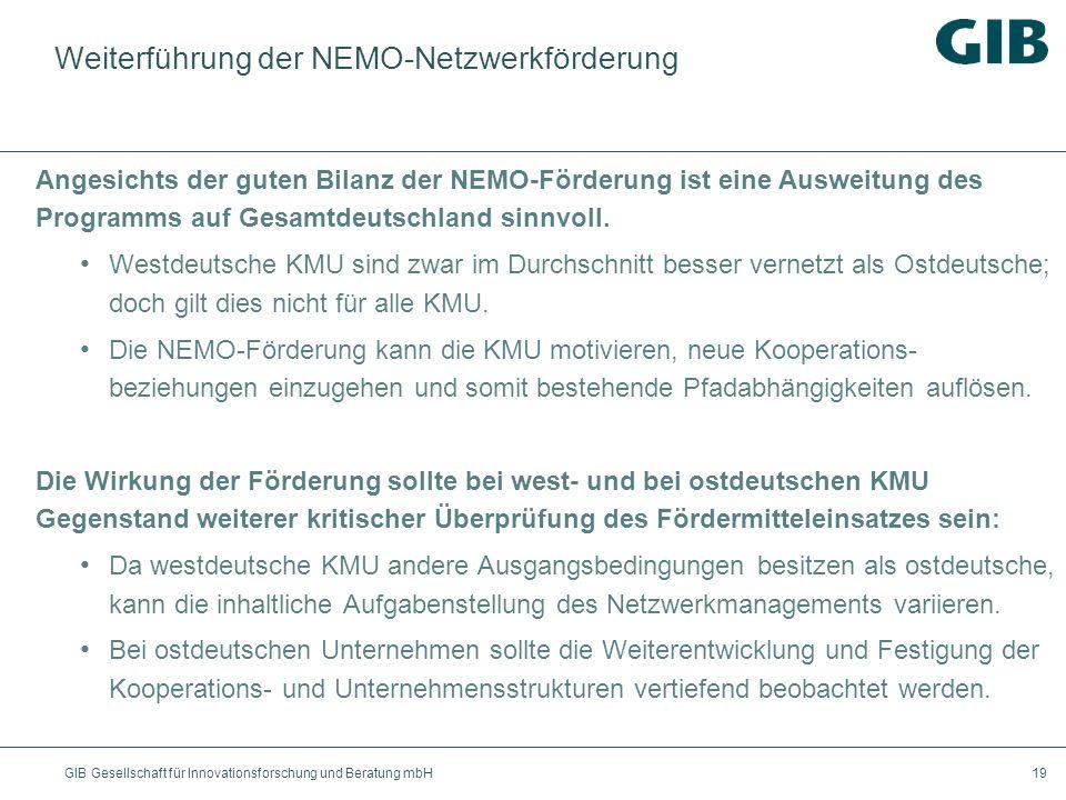 GIB Gesellschaft für Innovationsforschung und Beratung mbH19 Weiterführung der NEMO-Netzwerkförderung Angesichts der guten Bilanz der NEMO-Förderung i