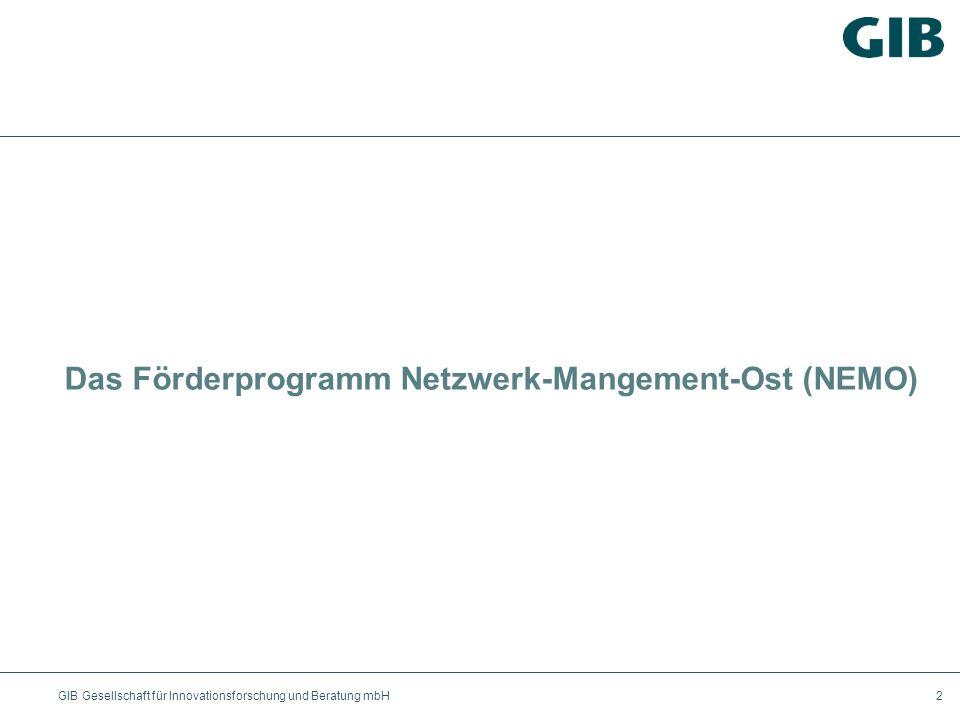 GIB Gesellschaft für Innovationsforschung und Beratung mbH2 Das Förderprogramm Netzwerk-Mangement-Ost (NEMO)