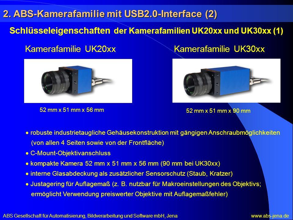 Kamerafamilie UK20xxKamerafamilie UK30xx Schlüsseleigenschaften der Kamerafamilien UK20xx und UK30xx (1) robuste industrietaugliche Gehäusekonstruktion mit gängigen Anschraubmöglichkeiten (von allen 4 Seiten sowie von der Frontfläche) C-Mount-Objektivanschluss kompakte Kamera 52 mm x 51 mm x 56 mm (90 mm bei UK30xx) interne Glasabdeckung als zusätzlicher Sensorschutz (Staub, Kratzer) Justagering für Auflagemaß (z.