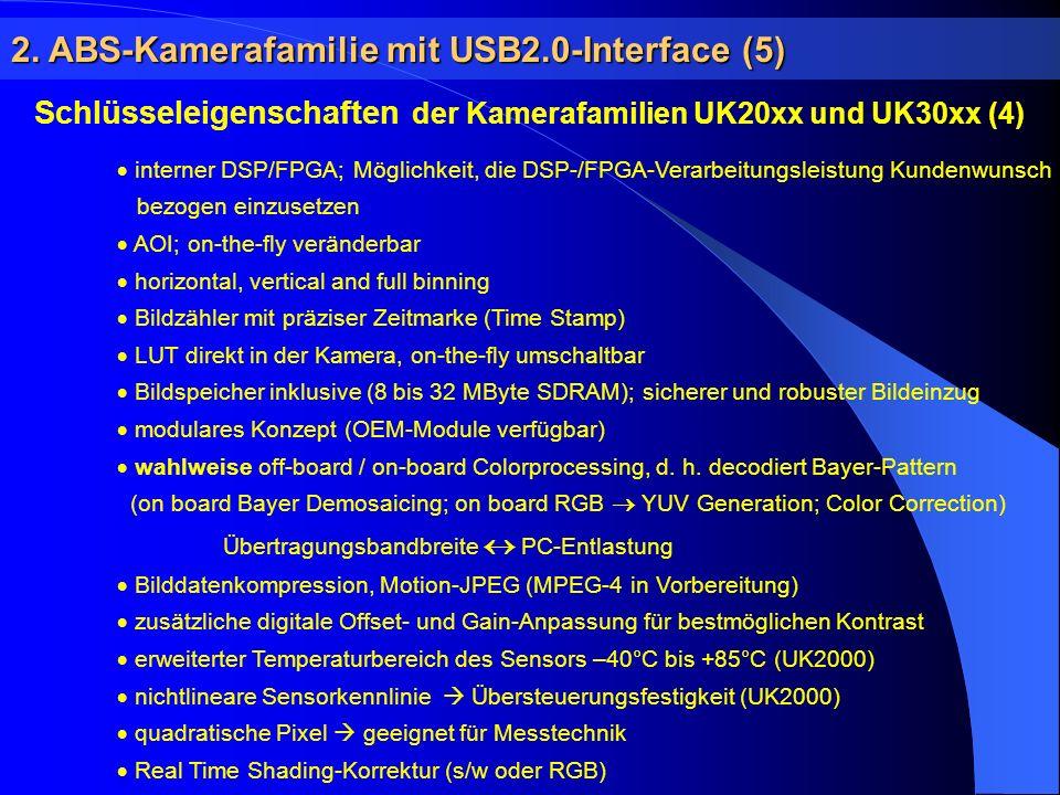 2. ABS-Kamerafamilie mit USB2.0-Interface (5) Schlüsseleigenschaften der Kamerafamilien UK20xx und UK30xx (4) interner DSP/FPGA; Möglichkeit, die DSP-