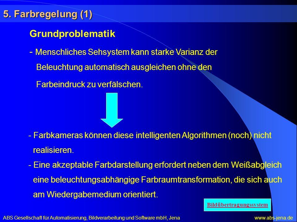 5. Farbregelung (1) Grundproblematik - Menschliches Sehsystem kann starke Varianz der Beleuchtung automatisch ausgleichen ohne den Farbeindruck zu ver