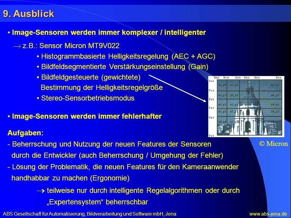 9. Ausblick Image-Sensoren werden immer komplexer / intelligenter z.B.: Sensor Micron MT9V022 Histogrammbasierte Helligkeitsregelung (AEC + AGC) Bildf