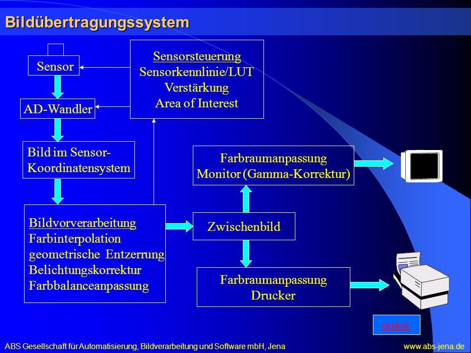 Bildübertragungssystem Sensor AD-Wandler Sensorsteuerung Sensorkennlinie/LUT Verstärkung Area of Interest Bildvorverarbeitung Farbinterpolation geomet