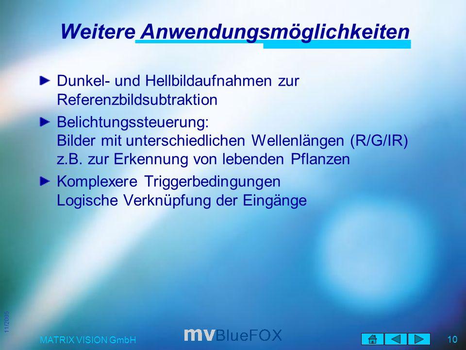 11/2005 MATRIX VISION GmbH 10 Weitere Anwendungsmöglichkeiten Dunkel- und Hellbildaufnahmen zur Referenzbildsubtraktion Belichtungssteuerung: Bilder mit unterschiedlichen Wellenlängen (R/G/IR) z.B.