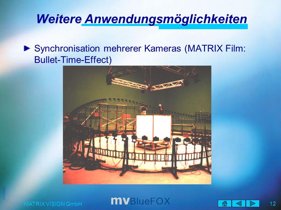 11/2005 MATRIX VISION GmbH 12 Weitere Anwendungsmöglichkeiten Synchronisation mehrerer Kameras (MATRIX Film: Bullet-Time-Effect)