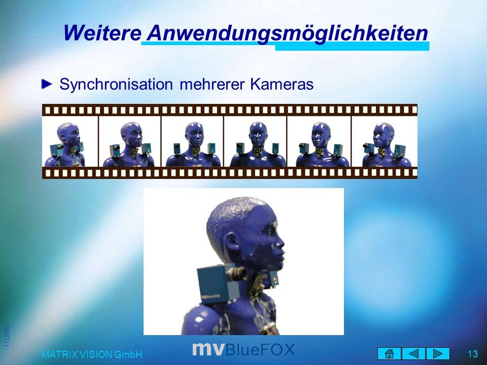 11/2005 MATRIX VISION GmbH 13 Weitere Anwendungsmöglichkeiten Synchronisation mehrerer Kameras