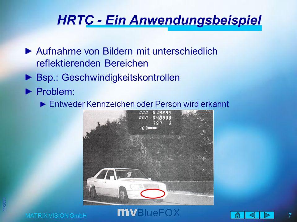 11/2005 MATRIX VISION GmbH 7 HRTC - Ein Anwendungsbeispiel Aufnahme von Bildern mit unterschiedlich reflektierenden Bereichen Bsp.: Geschwindigkeitskontrollen Problem: Entweder Kennzeichen oder Person wird erkannt