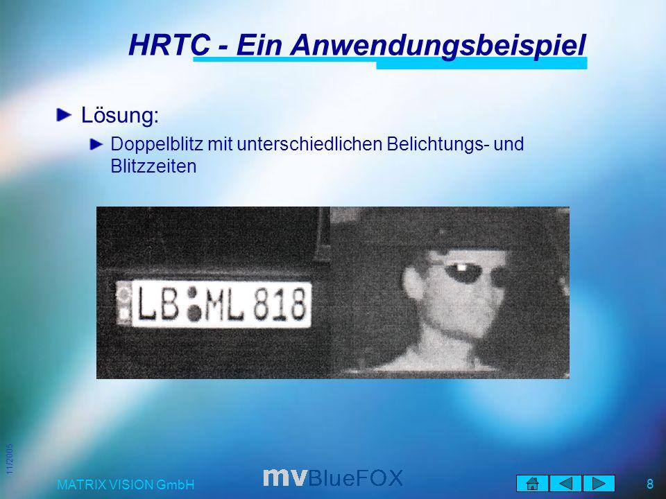 11/2005 MATRIX VISION GmbH 8 HRTC - Ein Anwendungsbeispiel Lösung: Doppelblitz mit unterschiedlichen Belichtungs- und Blitzzeiten