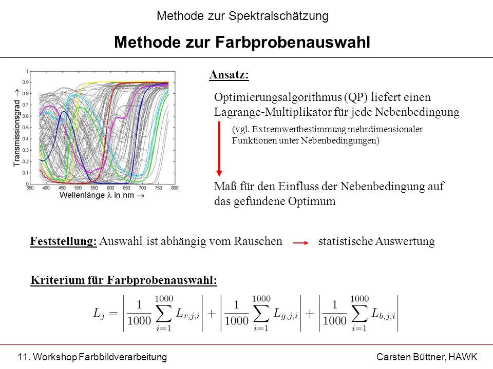 11. Workshop Farbbildverarbeitung Carsten Büttner, HAWK Ansatz: Kriterium für Farbprobenauswahl: Optimierungsalgorithmus (QP) liefert einen Lagrange-M
