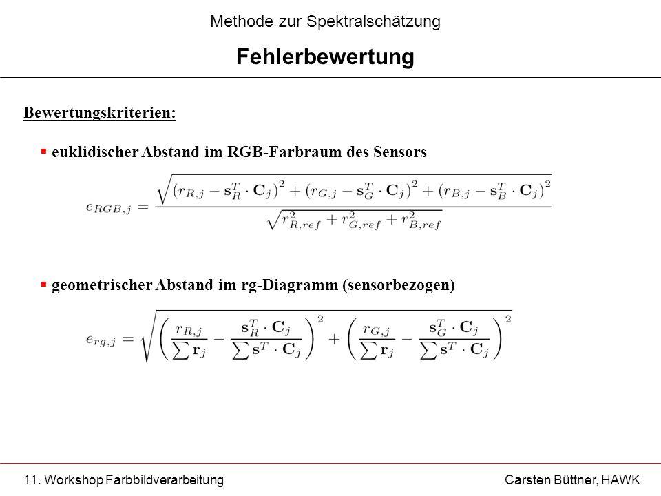 11. Workshop Farbbildverarbeitung Carsten Büttner, HAWK Bewertungskriterien: euklidischer Abstand im RGB-Farbraum des Sensors geometrischer Abstand im