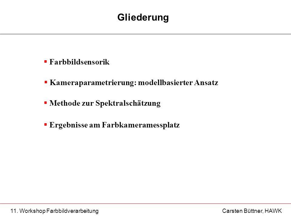 11. Workshop Farbbildverarbeitung Carsten Büttner, HAWK Gliederung Ergebnisse am Farbkameramessplatz Farbbildsensorik Kameraparametrierung: modellbasi