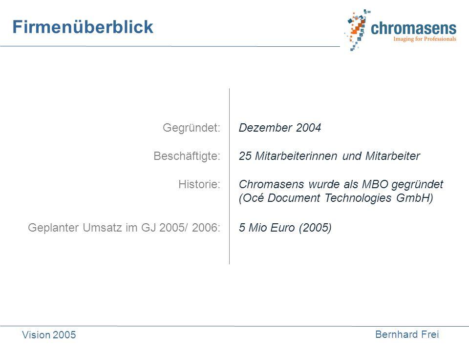Bernhard Frei Vision 2005 Firmenüberblick Gegründet: Beschäftigte: Historie: Geplanter Umsatz im GJ 2005/ 2006: Dezember 2004 25 Mitarbeiterinnen und