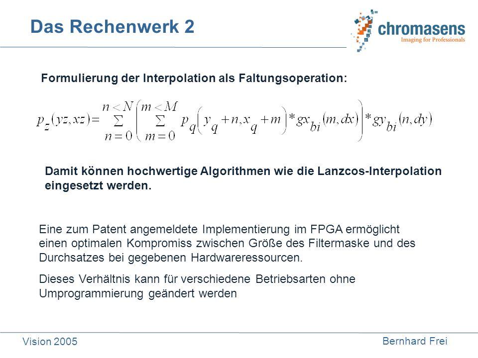 Bernhard Frei Vision 2005 Das Rechenwerk 2 Eine zum Patent angemeldete Implementierung im FPGA ermöglicht einen optimalen Kompromiss zwischen Größe de