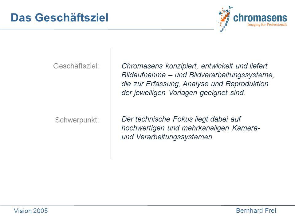 Bernhard Frei Vision 2005 Das Geschäftsziel Geschäftsziel: Schwerpunkt: Chromasens konzipiert, entwickelt und liefert Bildaufnahme – und Bildverarbeit